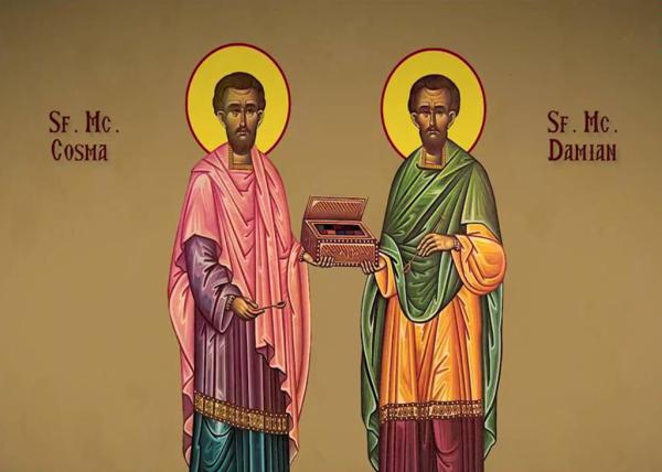 14 ноября – святые бессребреники и чудотворцы Косма и Дамиан Асийские и мать  их, преподобная Феодотия